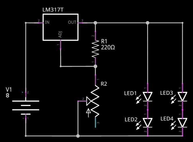 Circuit avec LM317T